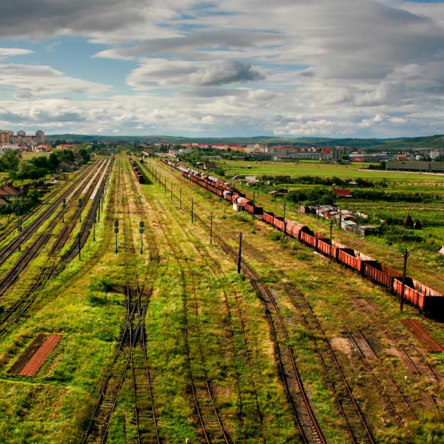 """Deserted romanian railroad"" stock image"