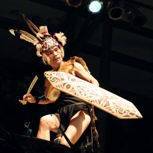 """""""Mathew Ngau Jau at Rainforest World Music Festival"""" stock image"""