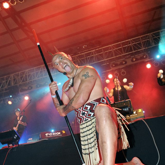 """Maori Warrior at Rainforest World Music Festival"" stock image"