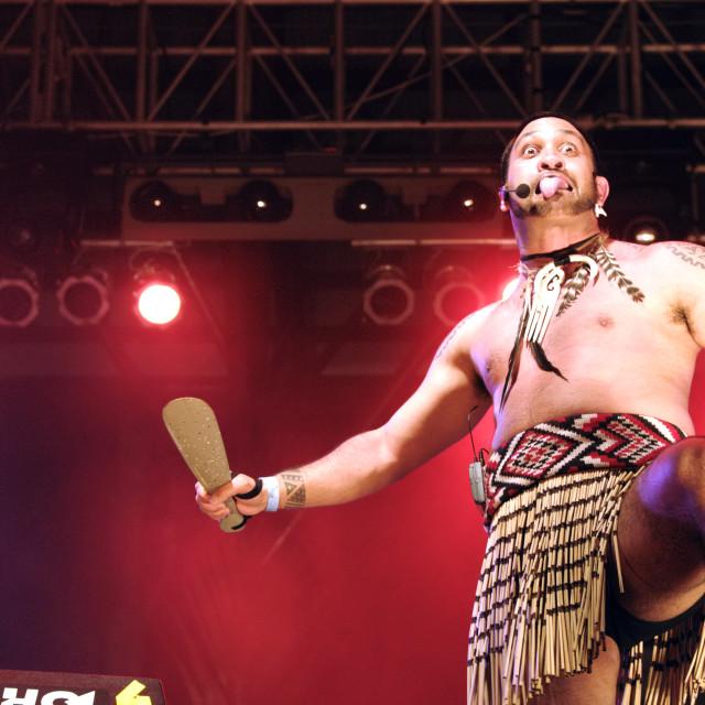 """Maori Warrior of New Zealand at Rainforest World Music Festival"" stock image"