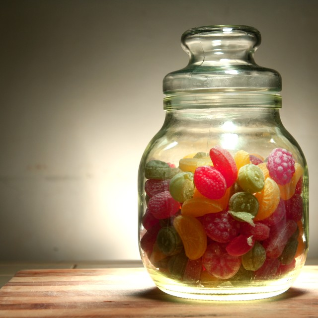 """""""jar of colorful hard candies"""" stock image"""