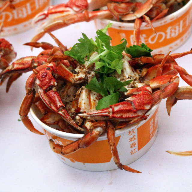 """""""Crabs and coriander in pots"""" stock image"""