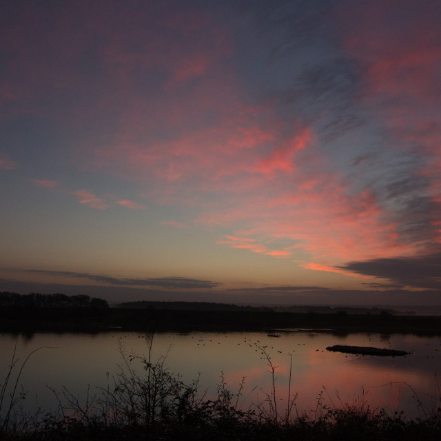 """November dawn, Snettisham, Norfolk"" stock image"