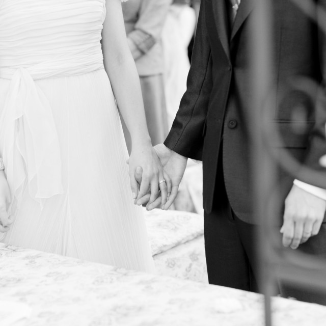 """""""Bride and groom holding hand in civil garden wedding marriage ceremony"""" stock image"""