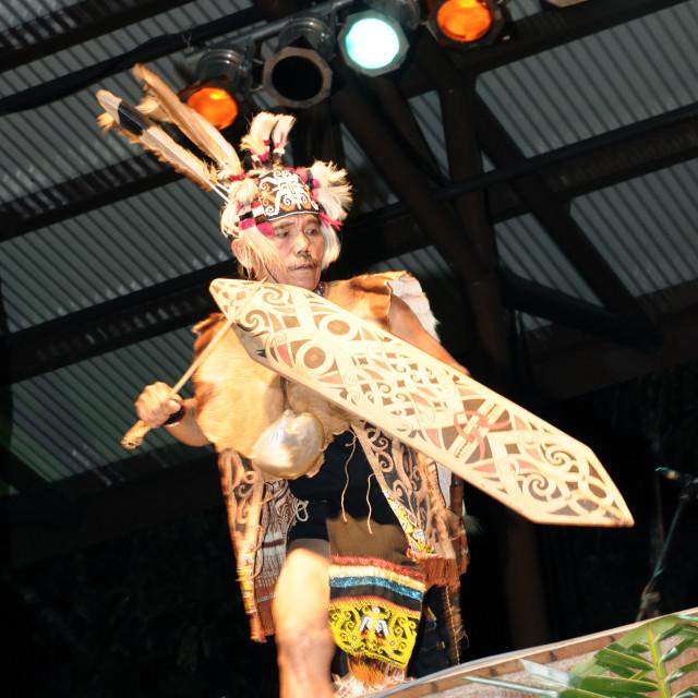"""""""Mathew Ngau Jau performing tribal dance"""" stock image"""