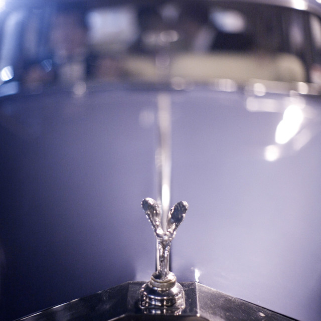 """""""Wedding marriage classic Rolls Royce car luxury automobile bride and groom kiss"""" stock image"""