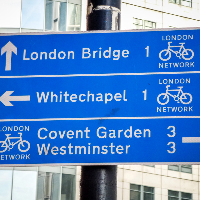 """""""Blue Direction Sign in London"""" stock image"""