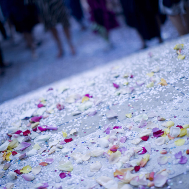"""Confetti on floor just married wedding marriage"" stock image"