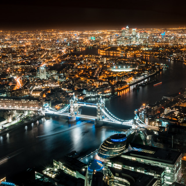 """Looking east from the Shard at Night"" stock image"
