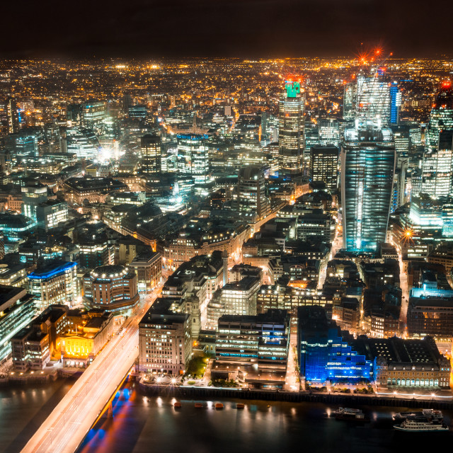 """Looking north from the Shard at Night"" stock image"