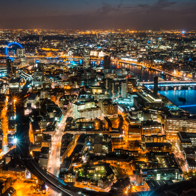 """Looking west from the Shard at Night"" stock image"