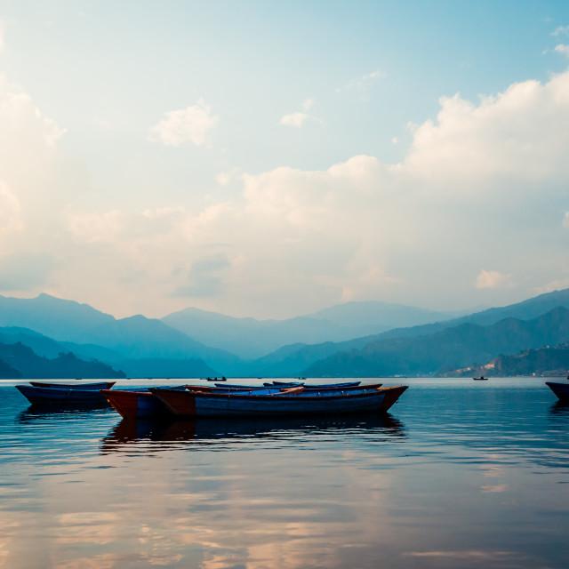 """""""Nepali Boats"""" stock image"""