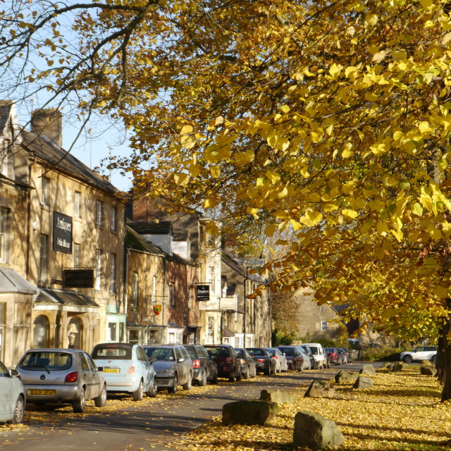 """Cotswolds, Moreton-in-Marsh High Street, Autumn"" stock image"