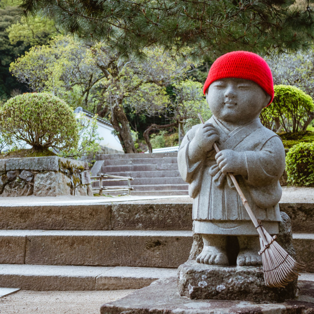 """Red Cap Buddha in Japan"" stock image"