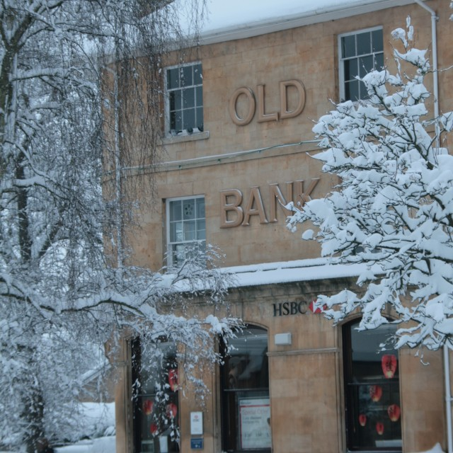 """""""Old Bank under snow"""" stock image"""