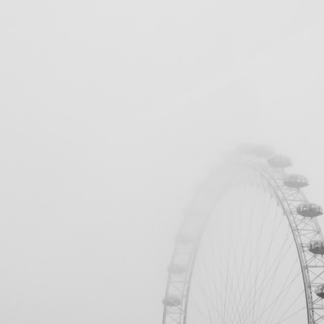 """London Eye in Fog"" stock image"