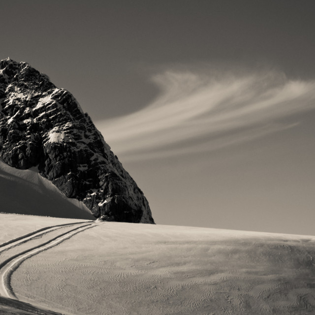 """""""Clouds and Crosscountry on a Glacier"""" stock image"""