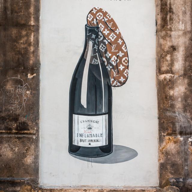 """""""Champagne Molotov Graffiti"""" stock image"""