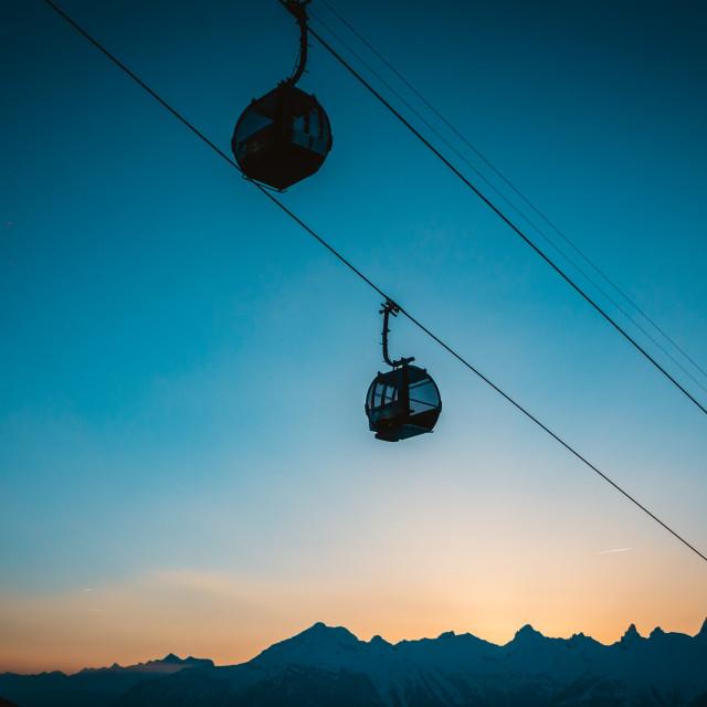 """Ski lift at Night"" stock image"
