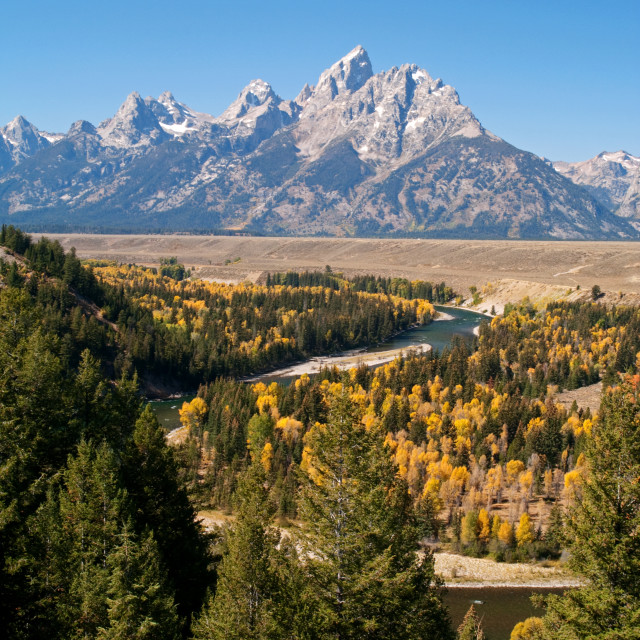 """The Snake River and the Tetons"" stock image"