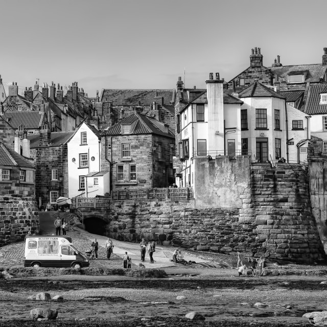 """Robin Hoods Bay in black and white"" stock image"