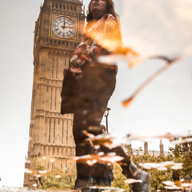 """Woman & Big Ben, Reflected"" stock image"