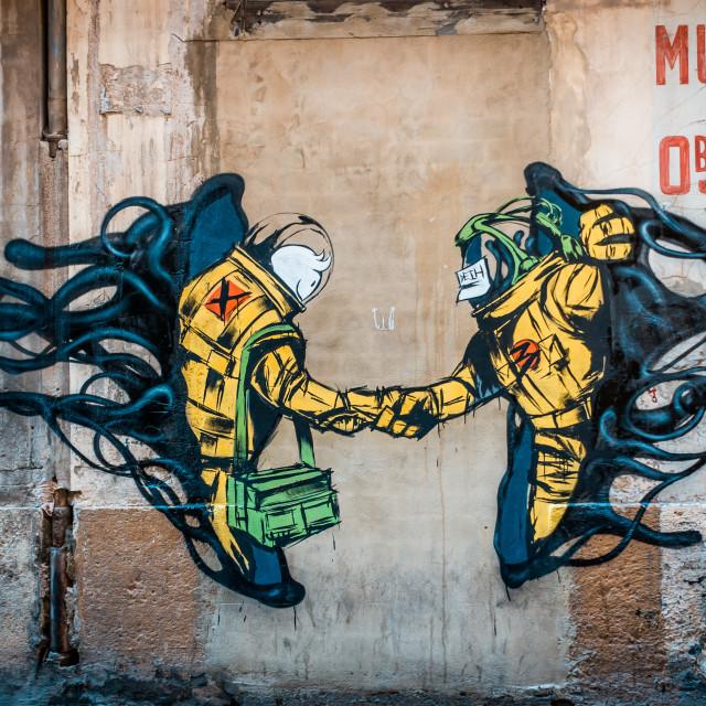 """Graffiti Astronauts"" stock image"