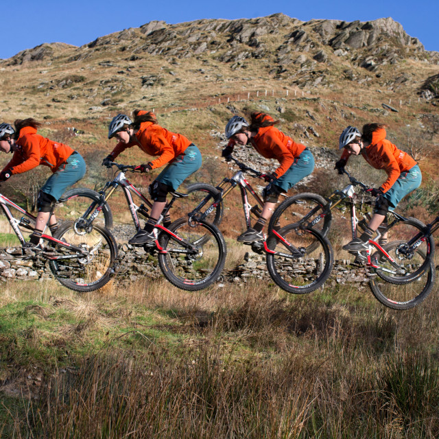 """Manon Carpenter Ladies Downhill Mountain Bike Champion of the World"" stock image"
