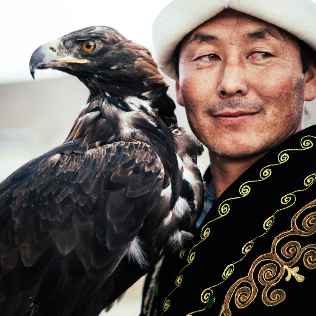 """The Kyrgyz Eagle Hunter"" stock image"