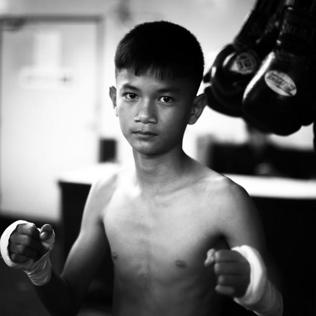 """Thai boxer boxing Thailand portrait Bangkok child third world poverty work"" stock image"