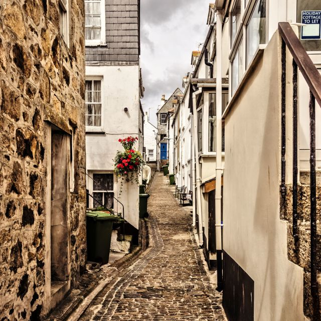 """Narrow cornish street"" stock image"