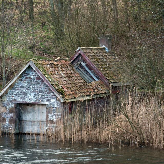"""""""disused boathouse"""" stock image"""