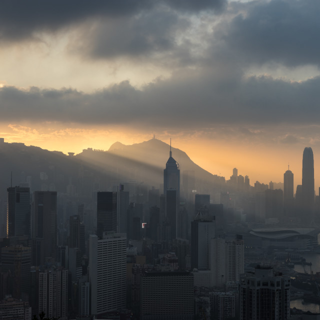 """Sunset on Hong Kong Island"" stock image"