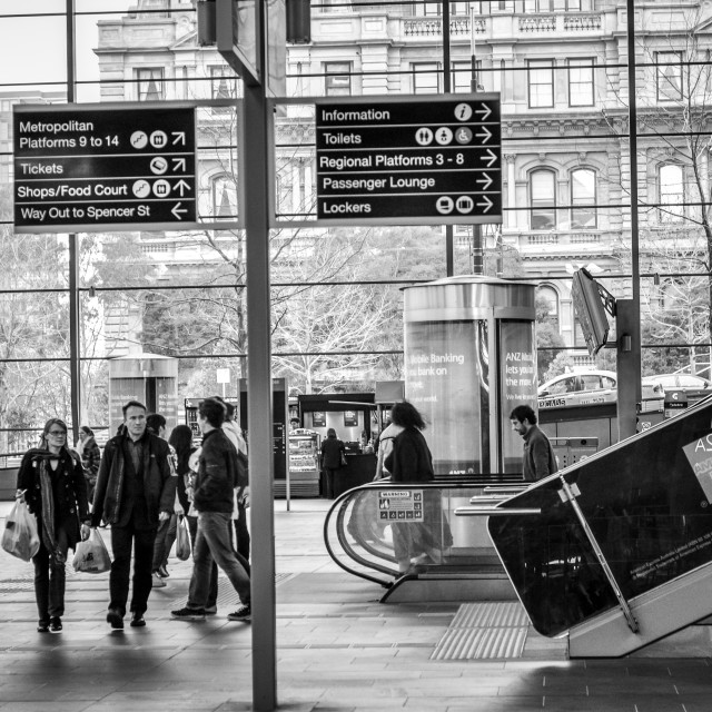 """Melbourne Train Commuters"" stock image"