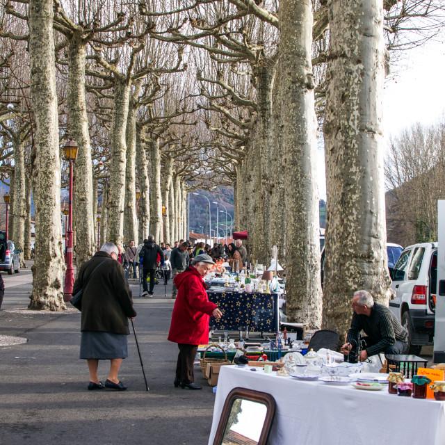"""Sunday Winter Market in France"" stock image"