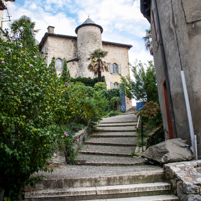 """""""Climb To Chateau in Seix"""" stock image"""