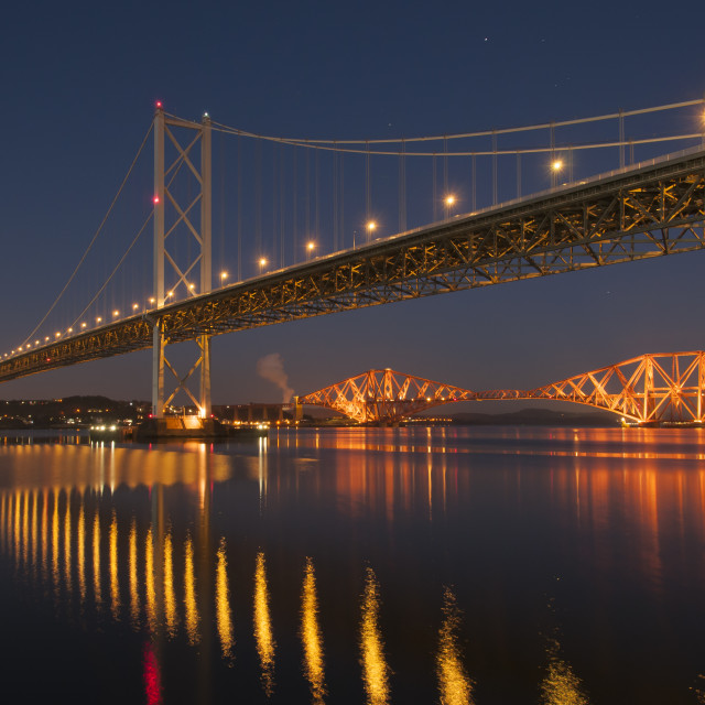 """Forth Bridges Reflections"" stock image"