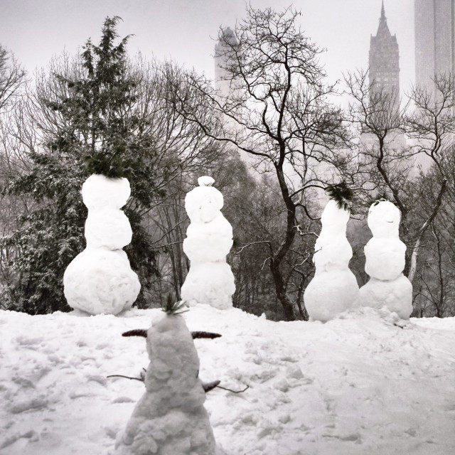 """""""Snow Family - Central Park"""" stock image"""