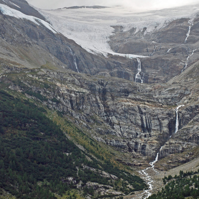 """glacier & water falls"" stock image"