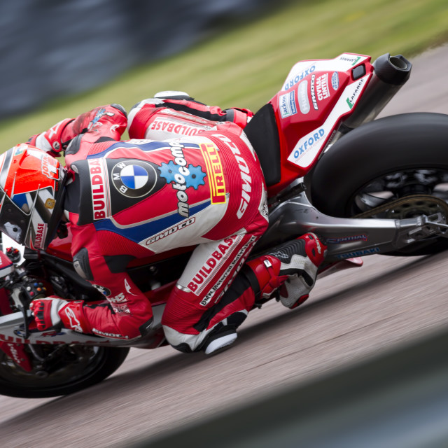 """BSB rider John Laverty Buildbase BMW Motorrad"" stock image"