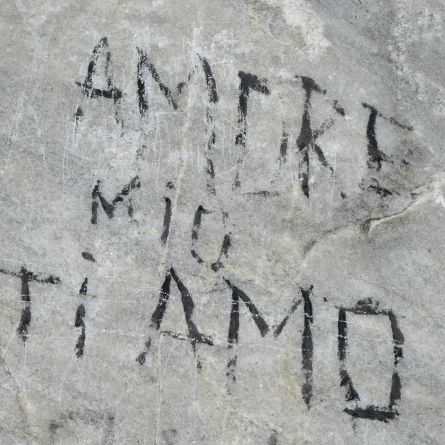 """""""An old inscription on a cliff - Amore mio ti amo"""" stock image"""