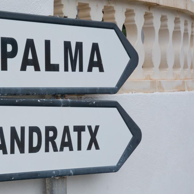 """Road sign Palma Andratx"" stock image"