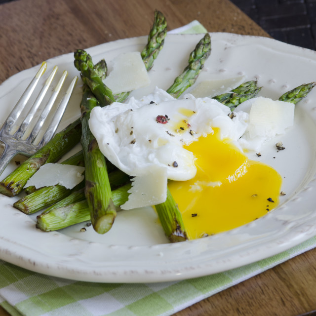 """Asparagus with poached egg"" stock image"