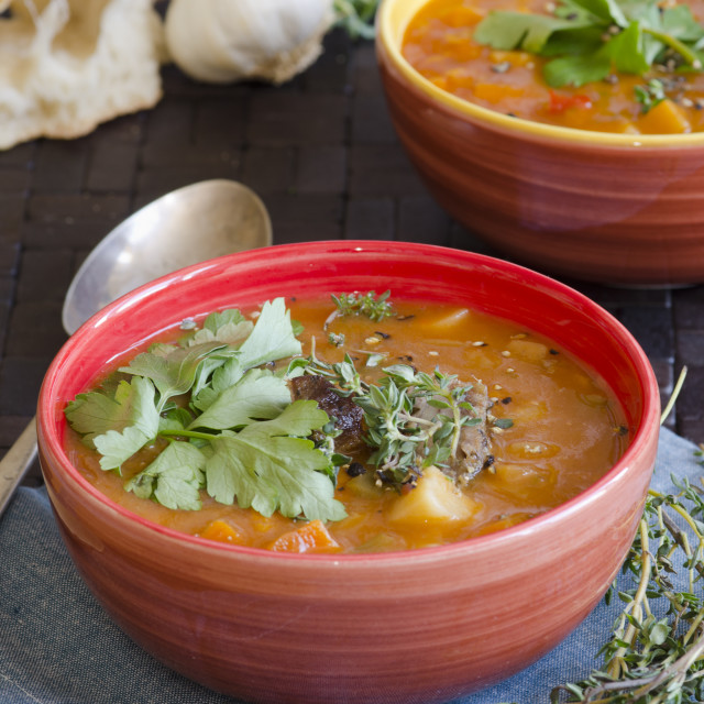 """""""Lamb and root vegetable soup"""" stock image"""