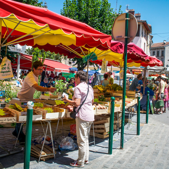 """Summer Market Shopping in the South Of France"" stock image"