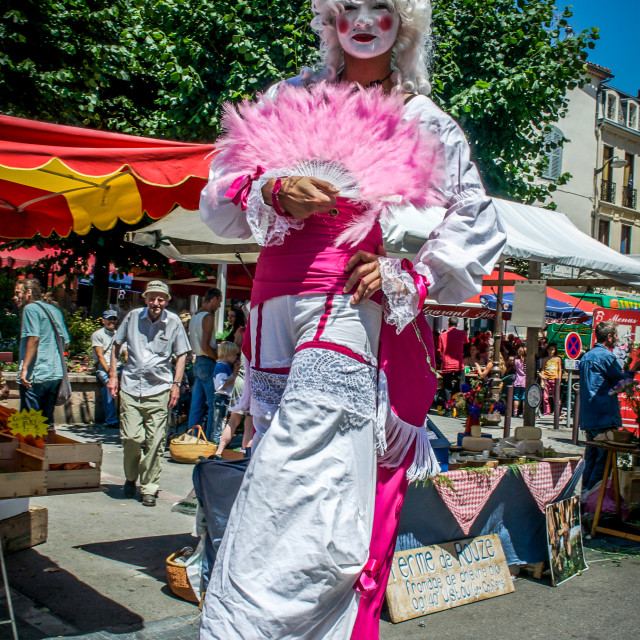 """Bewigged & Costumed Stiltwalker in South Of France"" stock image"