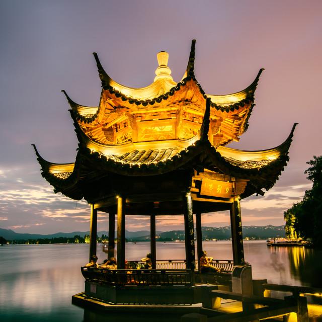 """Xi Ying Ting Pavilion (West Lake, Hangzhou)"" stock image"