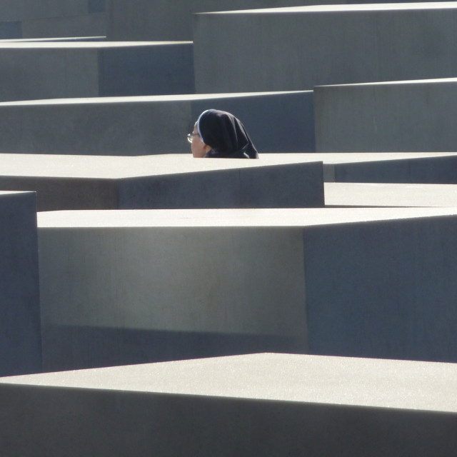 """""""Nun in Holocaust Monument"""" stock image"""