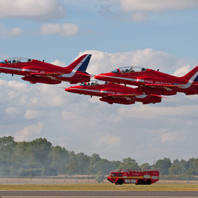"""Red Arrows at RIAT 2010"" stock image"