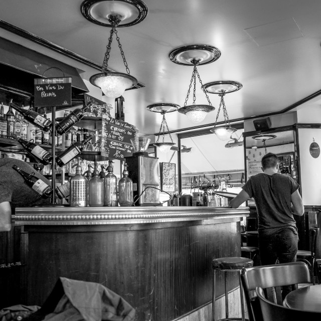 """Cafe Interior on Rue Lamarck B&W"" stock image"